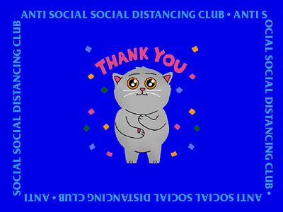 Anti Social Social Distancing Club animation app cats illustration stickers ios