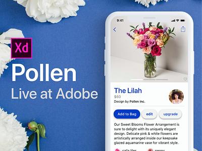 Adobe XD Live : Pollen E-commerce App free app interaction ios iphone design ux user interface ui
