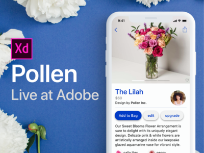 Adobe XD Live : Pollen E-commerce App free app interaction ios iphone design ux user interface ui