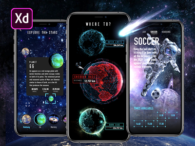 Adobe XD Live: Outer Space App free space outer space adobe xd adobexduikit photoshop interaction app ux design iphone user interface ios ui