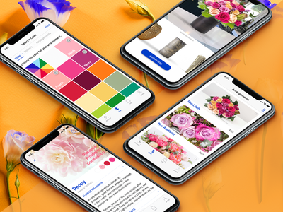 Adobe XD Live : Pollen Screens flowers ecommerce web design interface interaction app ux iphone design ios user interface ui
