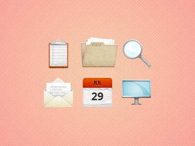 6ix icons icons design illustration web themesrobot calendar folder clipboard magnifying mail glass monitor