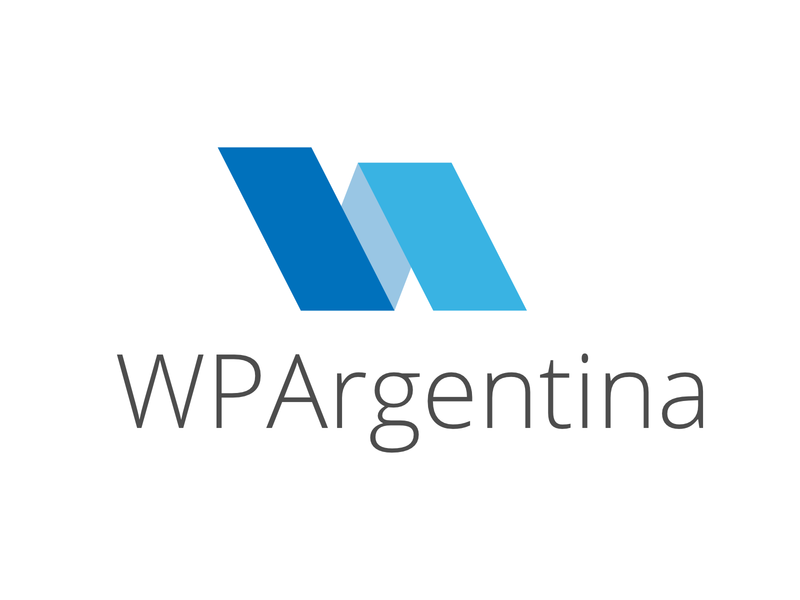 Logo for WordPress Argentina community thin font light blue stripes community wordpress vector design typography logo