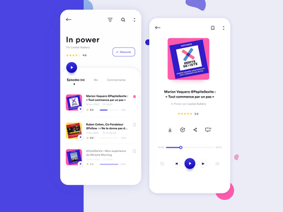 Podcast Interface women pink purple playlist list podcasting books music player song podcasts podcast