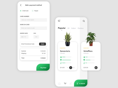 Dailyui 002 -  Plants & Credit Card Checkout dailyui002 dailyuichallenge creative application webdesign ux uxdesign user interface user experience ui design minimal green plants plant ui design checkout credit card payment daily ui dailyui