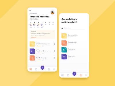 Habits tracker daily ui user experience design application minimal uidesign goals hello2020 habits habitstracker user interface uxdesign