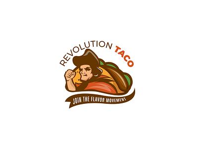 REVOLUTION TACO food food logo taco illustrator minimal vector illustration design logo design logo icon flat branding