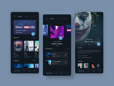 Mobflix - OTT Media Service blue tv series drama movies video online streaming hulu amazonprime netflix dark ios app ui design uiux