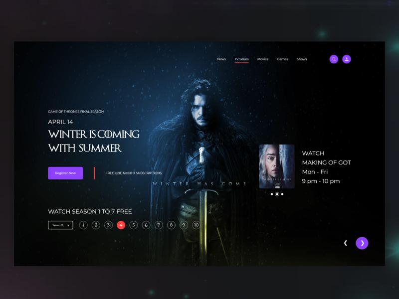 Game of Thrones dark design video watch episode season 9 tv series slider website