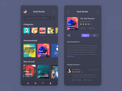 Book Bucket library mobile design xd uiux clean app details home andorid ios book dark ui trending iphone dark bookapp