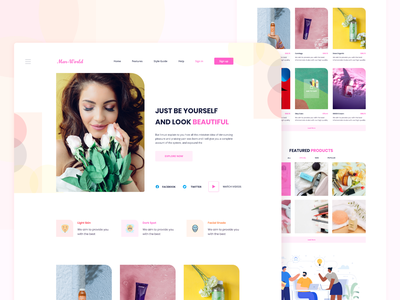 Cosmetic eCommerce woman girl userinterface event profile colorful landing page clean uiux cosmetic selling buying store online shop ecommerce product design trendy beautiful website