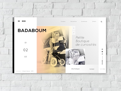 Badaboum V2 vintage shop vector ui design sketch 3 art artist uiux design uidesign illustraor illustration photoshop