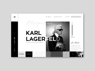 Karl Lagerfeld design stylist artist website luxe sketch 3 uidesign uiux design illustraor illustration photoshop