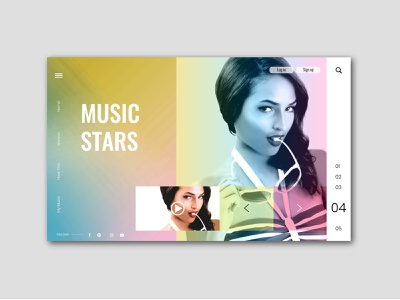 Music Stars streaming design music art artist website sketch 3 uiux design uidesign illustraor photoshop