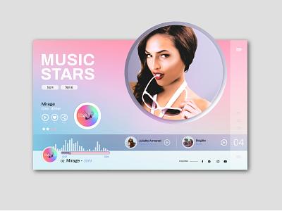 Music Stars V3 streaming music art design artist website sketch 3 uiux design uidesign illustraor photoshop