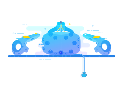 HTC Vive htc vr vive icon line color flat design illustration