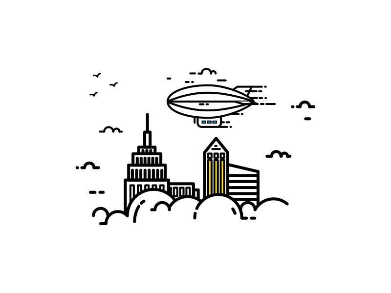 Good Day II cloud bird building goodday travel spaceship city design flat line illustration