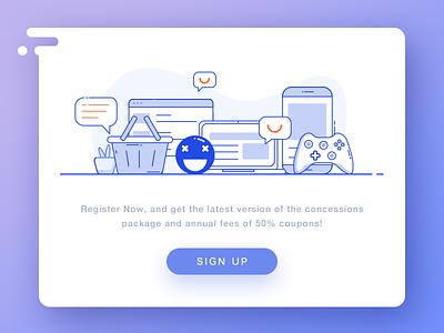 Sign up signup card equipment xbox emoji icon mobile computer line color illustration