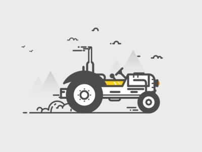 Tractor cloud tractor hills line color illustration