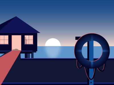 Beach House design moon sea minimalist night house beach light color illustration