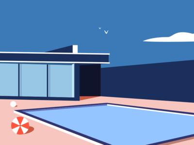House design minimalist line color illustration