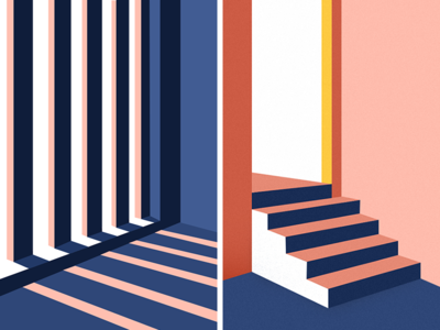 Light & Shadow design window stairs shadow light line color illustration