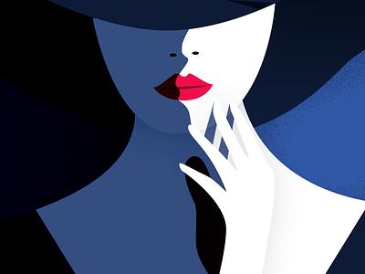 Girl In The Hat shadow light hat girl line color illustration