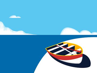 Boat beach sea cloud boat design line color illustration