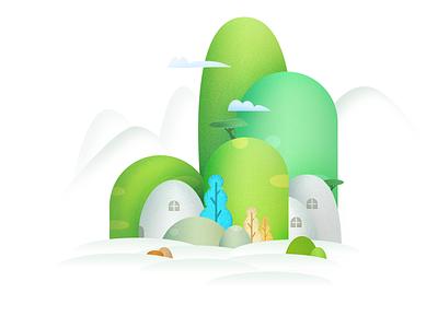 A Little Village In Mountains village mountains design line color illustration