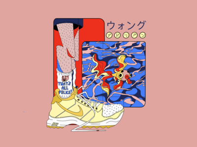ウオング sneakers socks illustration design creative compositon abstract water sea nike air nike koi fish gold fish fish