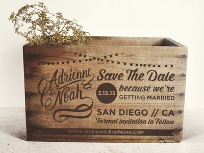 Our Save the Date on a Wooden Crate