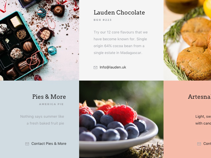 Interactive Dessert Grid ux ipad menu food design ui