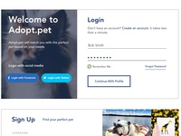 Pet Adoption UX Case Study - Login Visual Design