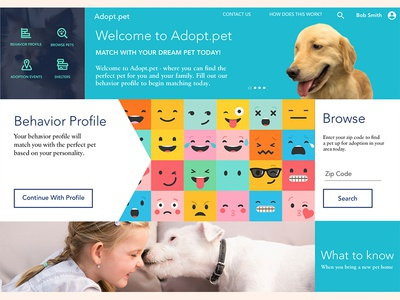 Pet Adoption UX Case Study - Visual Landing Page