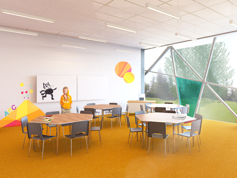 High School Classroom Interior Design ~ Primary school interior and architecture concept by aiste