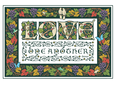 Love One Another message saying poster artwork emblem design vector art woodcut vintage classic illustration pen and ink