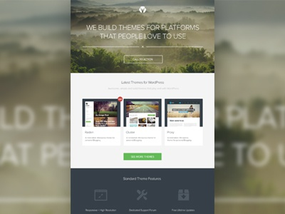 Homepage design (WIP) showcase themes wordpress flat portfolio