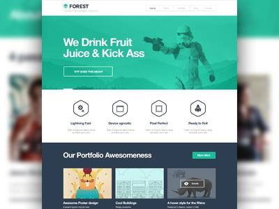 Portfolio Theme Homepage Design wordpress theme themeforest flat homepage portfolio