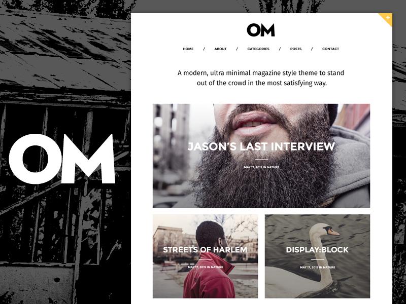 Om - A stylish blogging theme for WordPress wordpress blog homepage minimal themeforest grid magazine