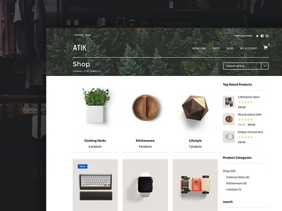 Atik WooCommerce theme - Main shop page