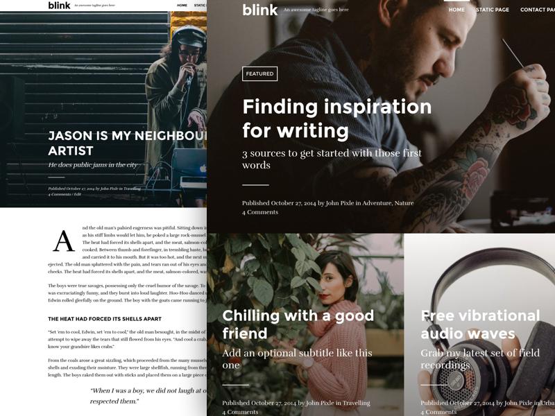 An updated version of Blink theme blogging blog theme wordpress