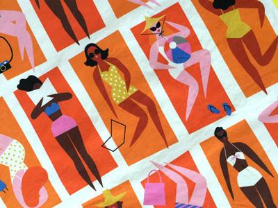 Bathing Beauties Tea Towel tea towel summer ladies beach retro surface design pattern lifestyle kidlit color design illustration