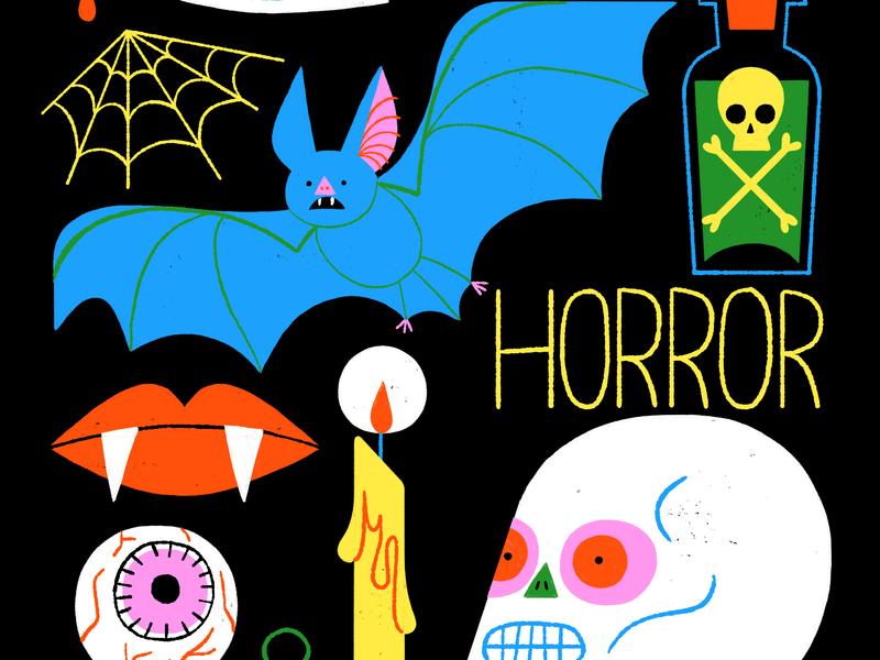 Horror horror movie scary creepy spooky halloween fangs candle skull poison knife bat horror visual development spot illustration icon color design illustration