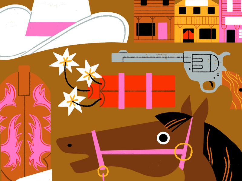 Western movie genre shoot out spurs boots general store dynamite gun horse cowboys western retro visual development lifestyle editorial spot illustration icon kidlit color design illustration