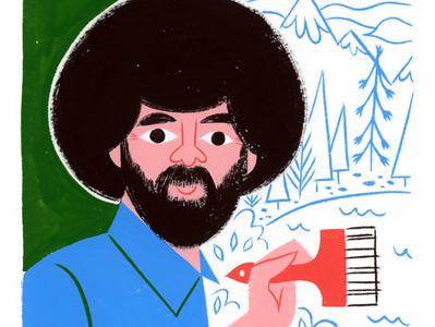 Bob Ross afro pbs joy of painting painting bob ross fan art editorial portrait icon kidlit gouache color design illustration