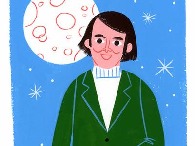 Carl Sagan - Cosmos 70s moon space pbs cosmos carl sagan fan art lifestyle editorial portrait spot illustration icon kidlit gouache color design illustration