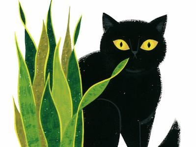 Evie pet snake plant black cat cat animals visual development lifestyle portrait spot illustration icon kidlit gouache color design illustration