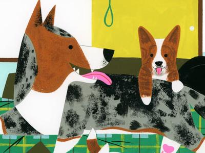 Corgi Family pet k9 mama dapple puppies dog corgi animals spot illustration kidlit gouache color design illustration