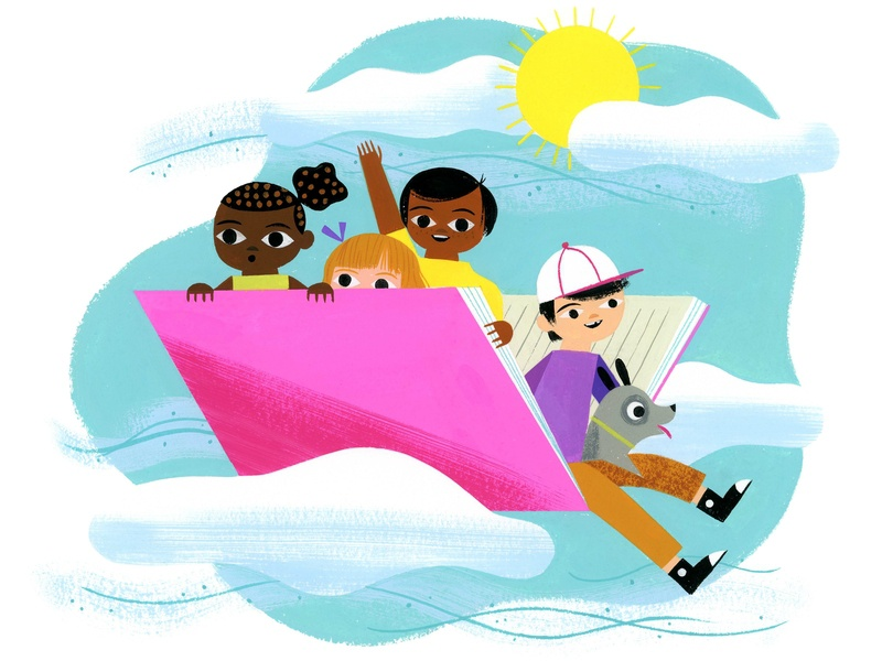 Why We Read - Jhumpa Lahiri why we read jhumpa lahiri flying books reading kids retro animals visual development editorial lifestyle spot illustration icon gouache kidlit color design illustration