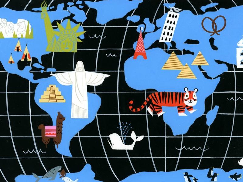 Why We Read - Roald Dahl egypt paris peru book roald dahl tiger world map retro animals visual development editorial lifestyle spot illustration icon gouache kidlit color design illustration